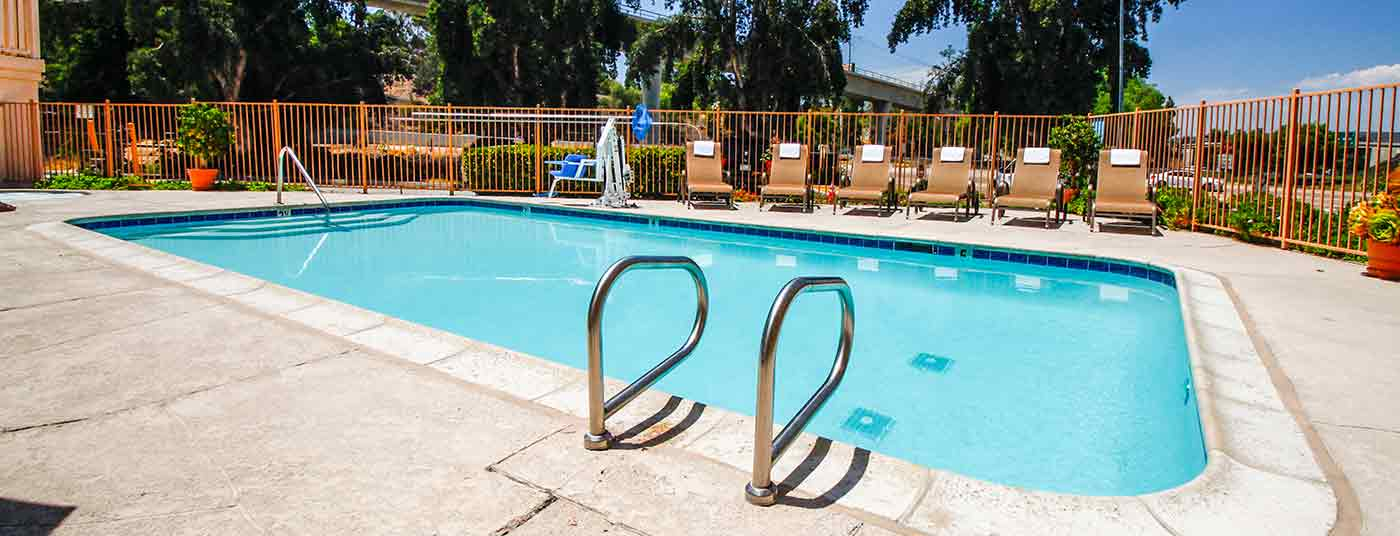 Enjoy our hotel amenities like the pool and spa!